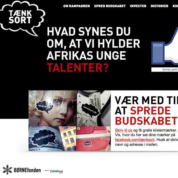"""BørneFonden """"Tænk sort"""" kampagne website"""
